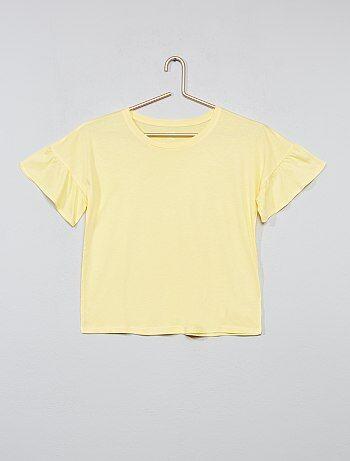 Menina 10-18 anos - T-shirt com mangas com folhos - Kiabi