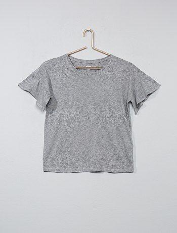 T-shirt com mangas com folhos - Kiabi
