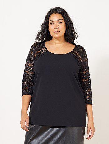 Mulher tamanhos grandes - T-shirt com mangas em renda - Kiabi