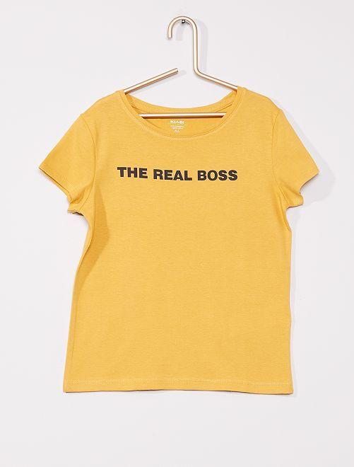 T-shirt com mensagem de 'conceção ecológica'                                                                             AMARELO