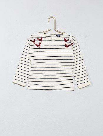 T-shirt com pormenores bordados - Kiabi