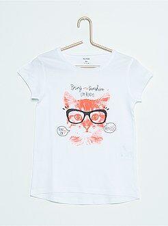 T-shirt de algodão estampada