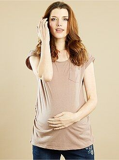 Futura mamã T-shirt de gravidez com bolso no peito