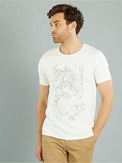 T-shirt de manga curta com estampado fantasia