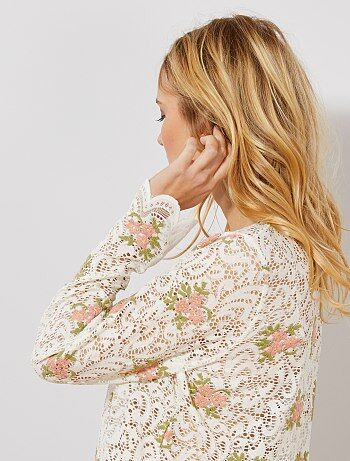 T-shirt de renda e bordado florido - Kiabi