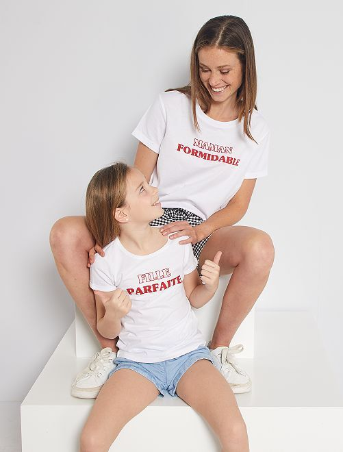T-shirt 'Eco-conception' com estampado 'coração'                                                         BRANCO