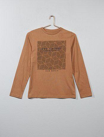 T-shirt em puro algodão com manga comprida estampada - Kiabi