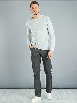 Homem com mais de 1,90m de altura - T-shirt justa lisa em algodão + 1,90 m - Kiabi