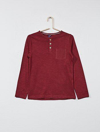T-shirt lisa com gola tunisina - Kiabi