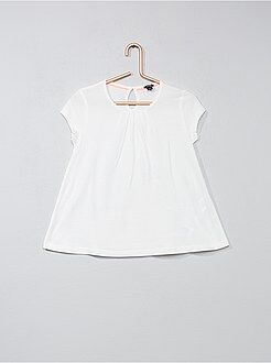 T-shirt, top - T-shirt lisa com pregas - Kiabi