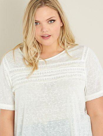 T-shirt malha flamejada e macramé - Kiabi