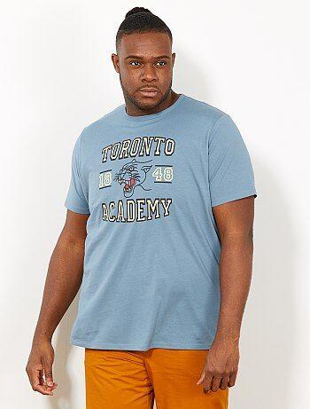 f11ffa165 Homem tamanhos grandes - T-shirt regular com estampado campus - Kiabi