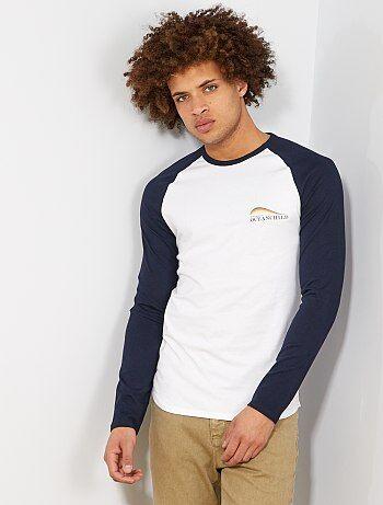 79c74ef84 Homem do S até XXL - T-shirt slim com manga raglã bicolor - Kiabi