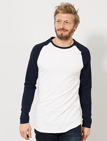 3b2fe3510d34e Homem do S até XXL - T-shirt slim raglã bicolor Eco-conception -
