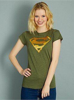 Mulher do 34 até 48 - T-shirt 'Super-Homem' com lantejoulas reversíveis - Kiabi