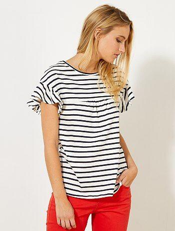 Mulher do 34 até 48 - T-shirt tipo marinheiro com franzidos - Kiabi