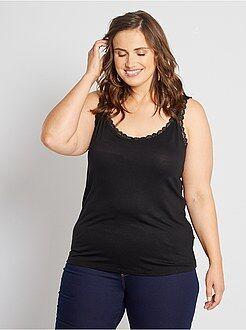Mulher tamanhos grandes - Top de alças em viscose elástica com renda - Kiabi