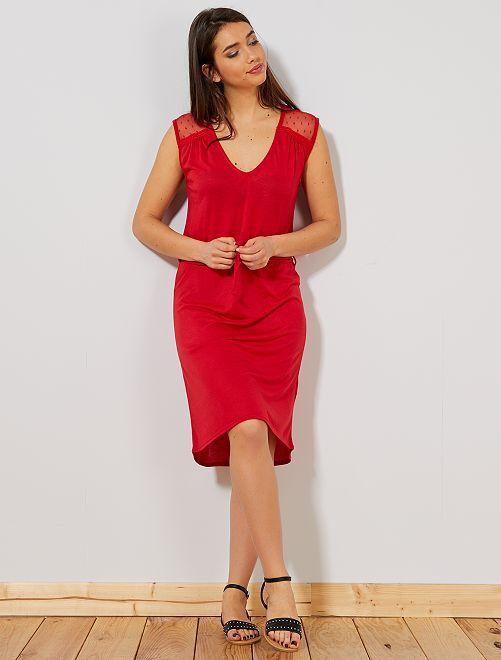 Vestido a ponto cheio                                                     Vermelho Mulher do 34 até 48