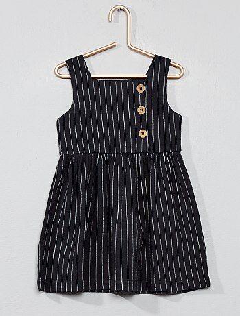 72441a301f68b Menina 0-36 meses - Vestido às riscas com detalhes nos botões - Kiabi