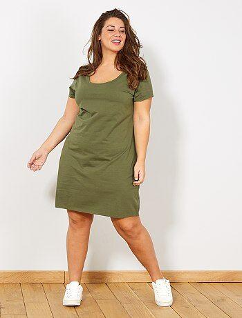 33c9d6a175 Mulher tamanhos grandes - Vestido básico em malha - Kiabi