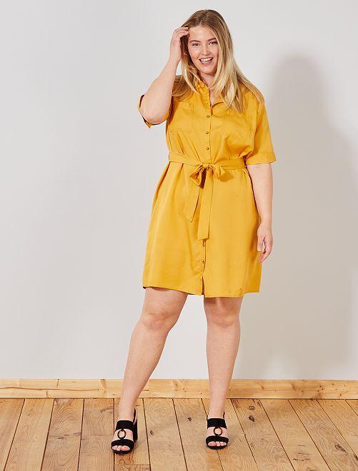 Vestido camisa em liocel                     Amarelo