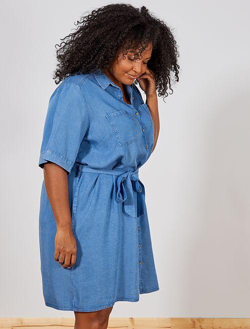 Vestido camisa em liocel                                         AZUL Mulher tamanhos grandes