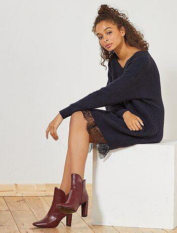 Vestido camisola com renda - Kiabi