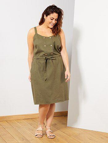 12b114fdf Mulher tamanhos grandes - Vestido com carcela dupla com botões - Kiabi