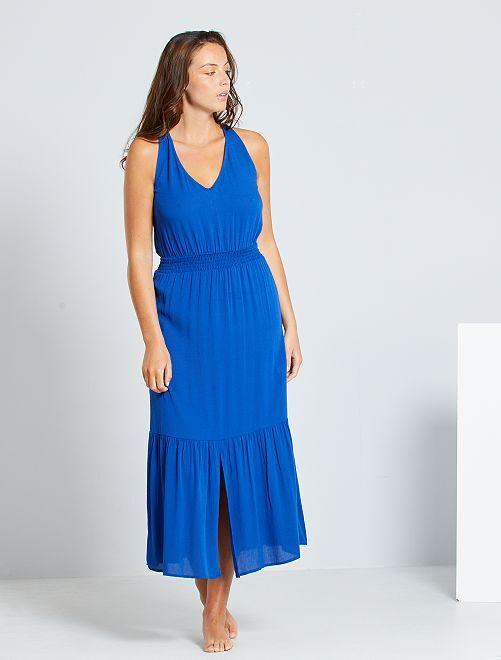 Vestido comprido com cintura com favos de mel                                                                     Azul