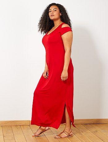 edfb1288af Mulher tamanhos grandes - Vestido comprido com ombros à mostra - Kiabi