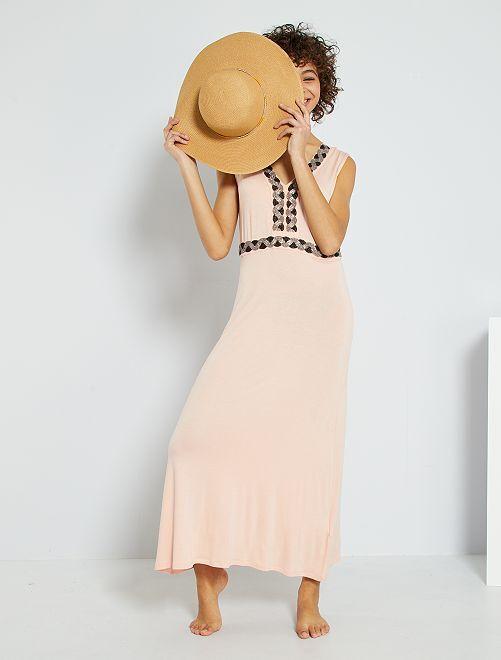 Vestido comprido com pérolas brilhantes                                                                 ROSA