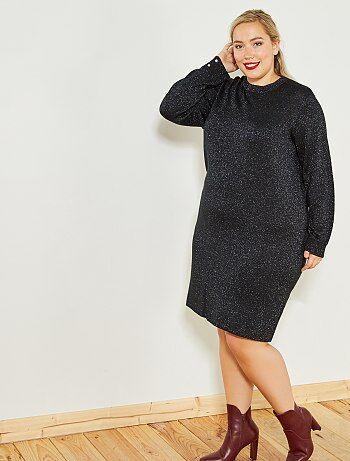 63fef4e68 Mulher tamanhos grandes - Vestido comprido de malha fina - Kiabi