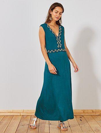 98ab5245c4 Vestido comprido elástico joias - Kiabi