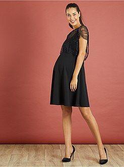 Futura mamã Vestido de gravidez com aplicação em renda