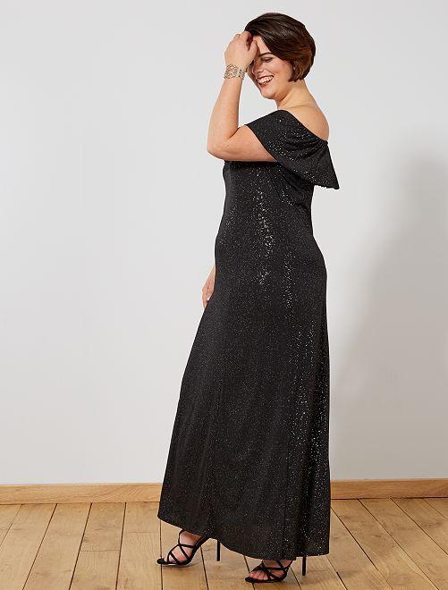 Vestido de noite comprido com brilhantes                             Preto