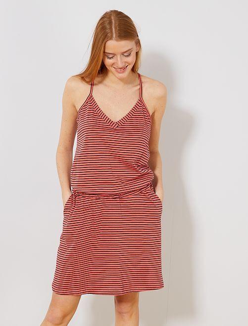 Vestido de Verão com parte de trás cruzada                                         Coral Mulher do 34 até 48