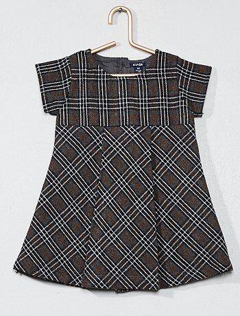 Menina 0-36 meses - Vestido em lã aos quadrados - Kiabi