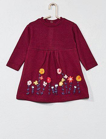 Vestido em malha com flores - Kiabi