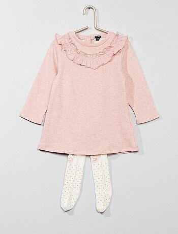 Menina 0-36 meses - Vestido em moletão com collants - Kiabi