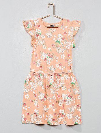 Menina 3-12 anos - Vestido estampado com manga com pompons - Kiabi 79b75353ffd