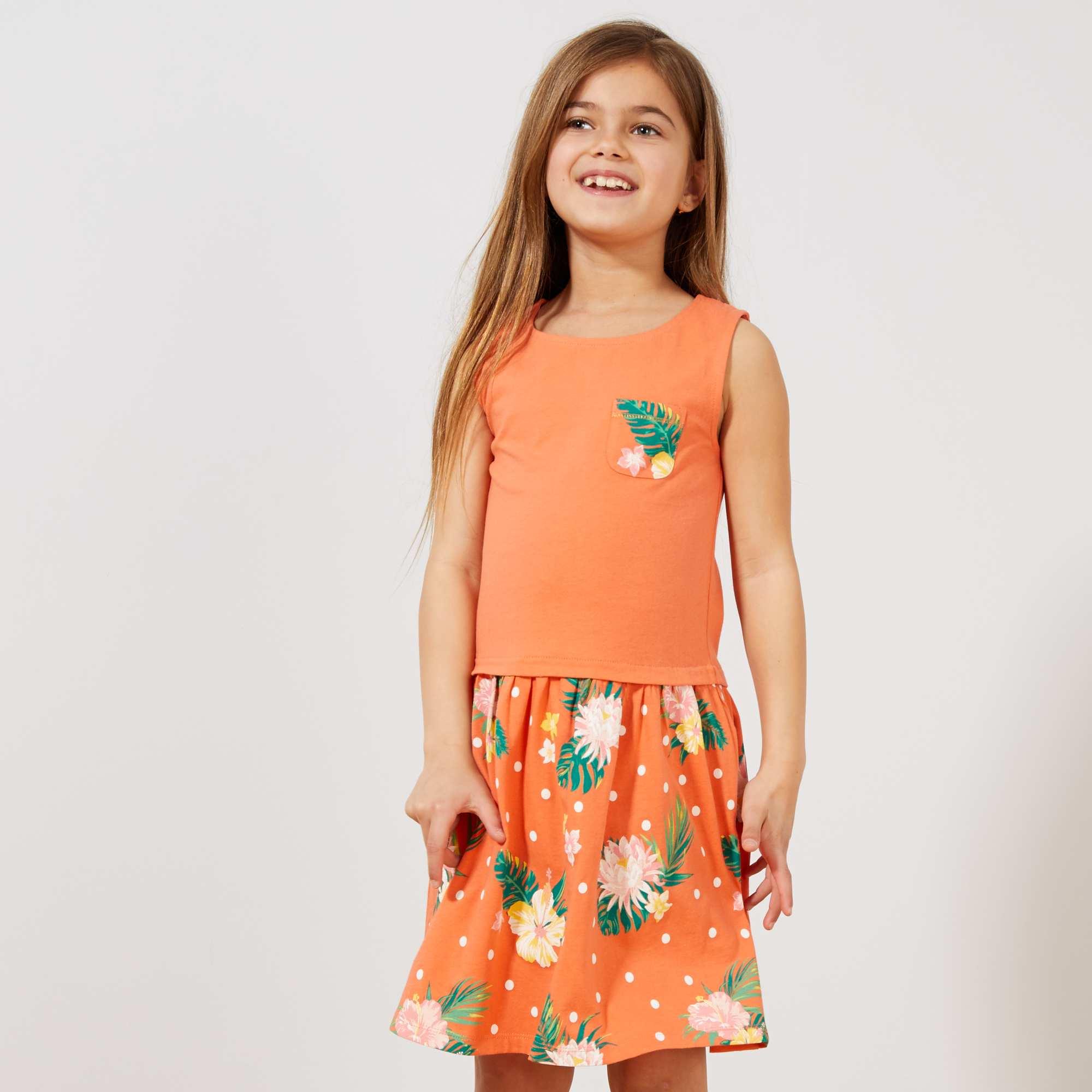 5bafc45a9 Vestido estampado em algodão biológico Menina 3-12 anos - Laranja ...