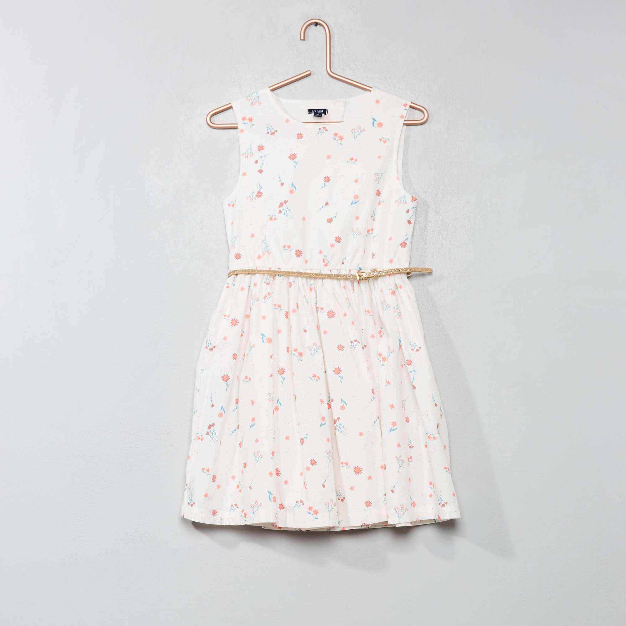 b41c1377c Vestido largo estampado Menina 3-12 anos - Branco - Kiabi - 12