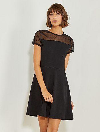 Vestido preto com a parte superior a ponto cheio - Kiabi
