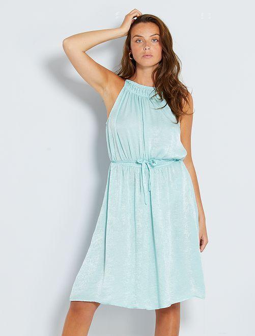 Vestido semi-comprido em cetim                             Azul