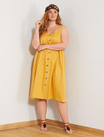 62ecbcbeab Mulher tamanhos grandes - Vestido soltinho com carcela de botões - Kiabi