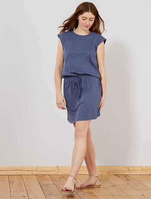 Vestido soltinho com costas estilo macramé                                                     Azul Mulher do 34 até 48
