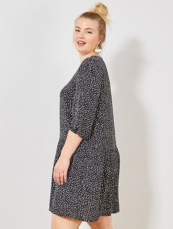 216c57c419 Mulher tamanhos grandes - Vestido soltinho pontilhado - Kiabi